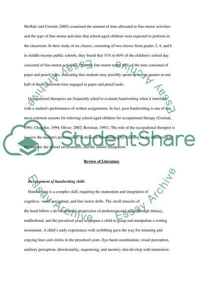 Development of hndwriting skills