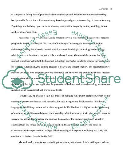 Narrative Statement for School of Radilogical Technology at VA Medical Center