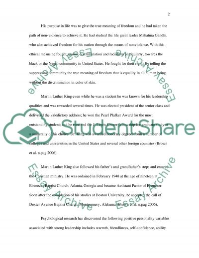 Ethical Leadership Martin Luther King Jr essay example
