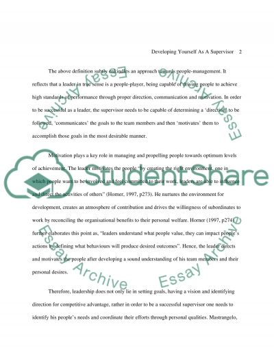 Developing Yourself As A Supervisor essay example