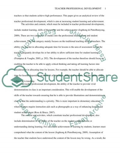 Teacher Professional Development and Student Achievement Gains essay example