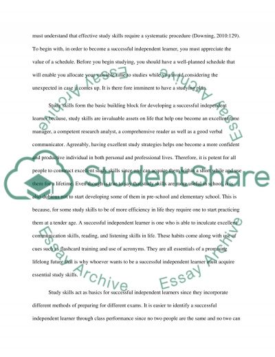Study Skills Form The Basic Building Blocks For Developing Successful Independent Learners: Discuss This Statement essay example