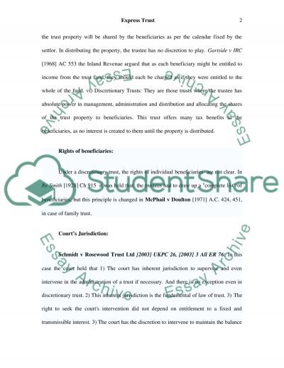 Law of express trust essay example