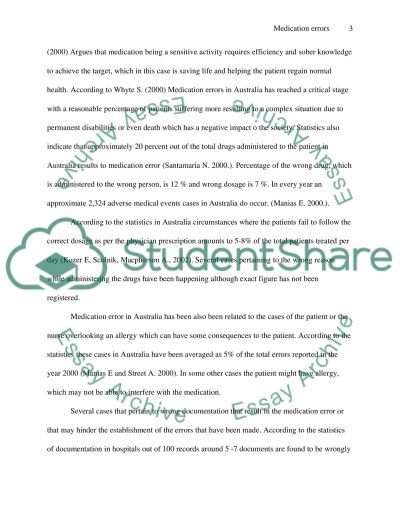 Medication Errors Essay Essay example