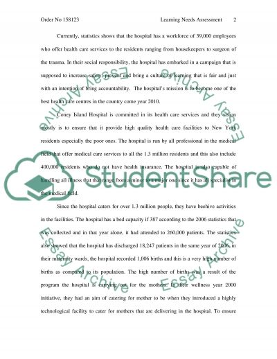 Learning needs assessment essay example