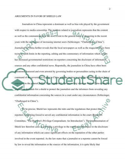 The need of Shield Law in China essay example