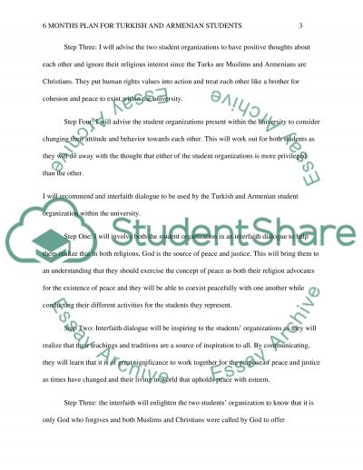 Six Months plan for Turkish and Armenian Students Essay example