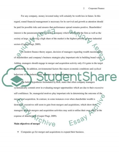 Corporate Finance essay example