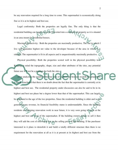 Perform a highest and best use analysis on two properties essay example
