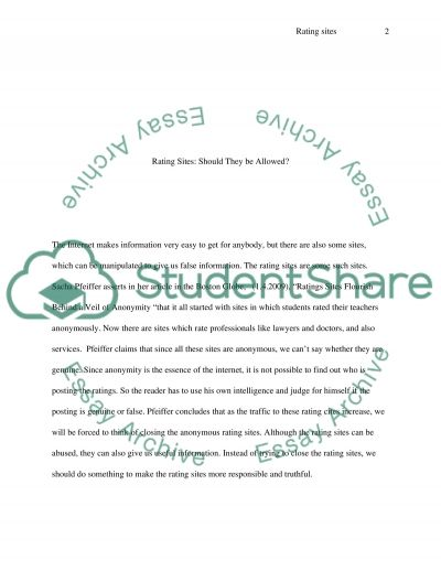 Rating Sites essay example