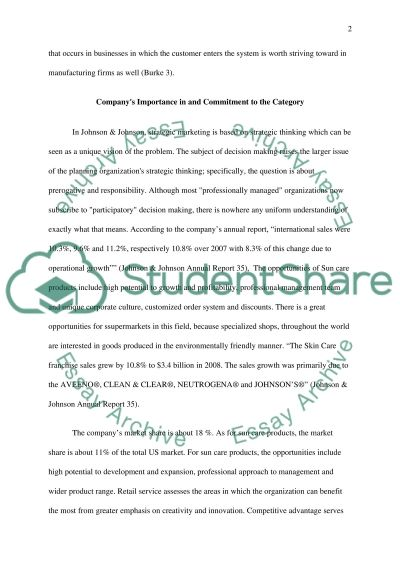 Johnson and Johnson Sun Care Product Competitor and Consumer Analysis Essay example