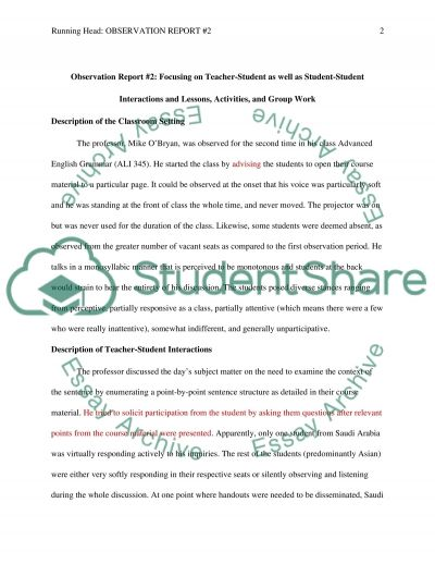 Course: Observation of Teaching English/ Observation Report #2