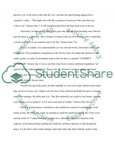 Ted Koosers A Spiral Notebook essay example