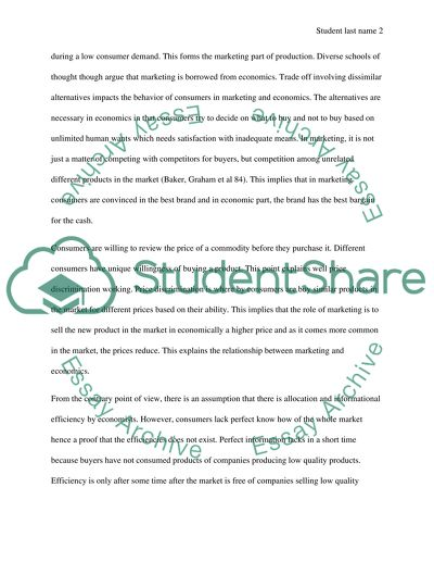 Compare and Contrast essay for Economics and Marketing