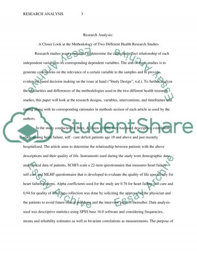 Research Analysis essay example