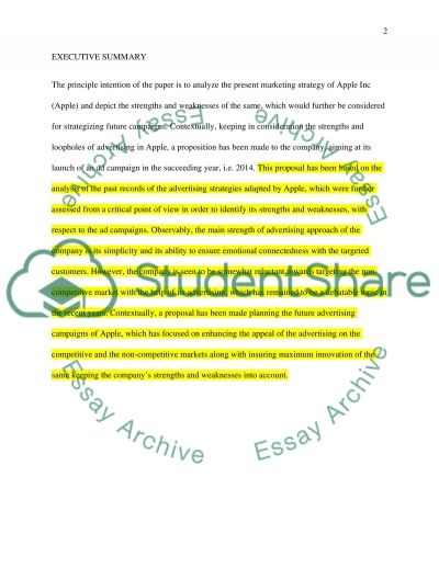 Ad Proposal for Apple 2014 Essay example