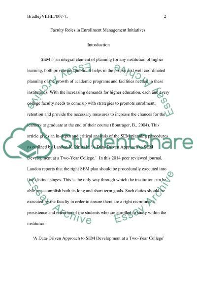 Enrollment Management:Salvation or Ruination essay example