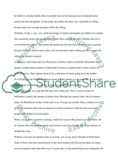 Sentiment in financial markets essay example