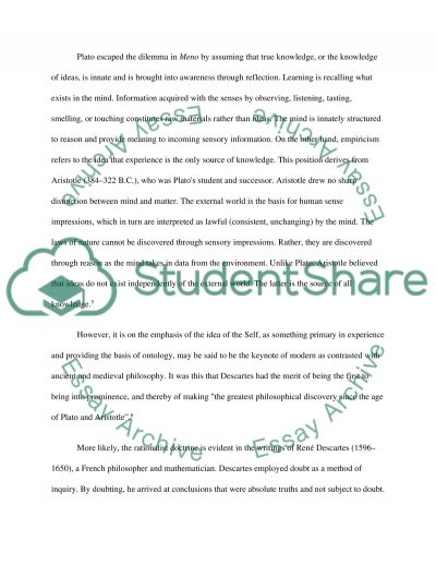 Plato and Descartes: Comparing their Thoughts on Knowledge and Learning essay example