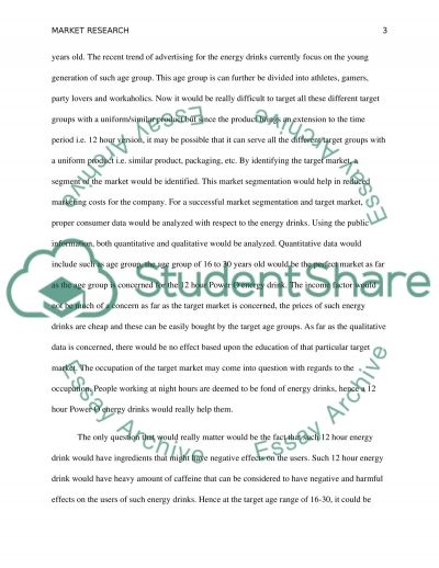 Market research Assignment essay example