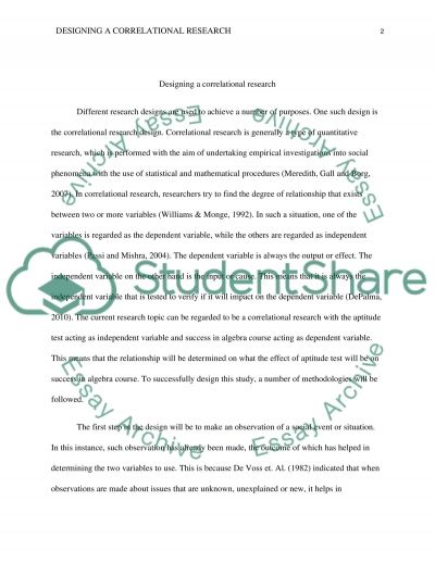 Correlational research essay example