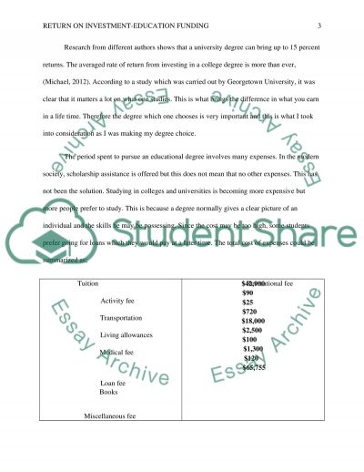 Return on Investment : Education Funding essay example