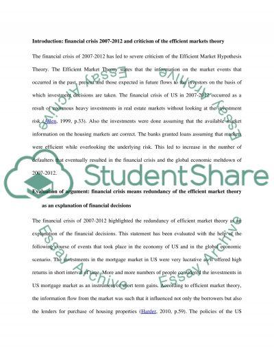 Financial crisis 2007-2012 essay example