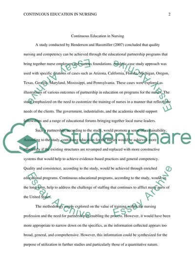 The Influence of continuous education in Nursing Profession (Literature Review)