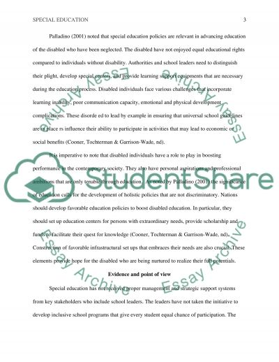 Critical Thinking Essay - Special Education