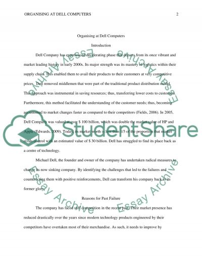 Organizing at Dell Computers essay example