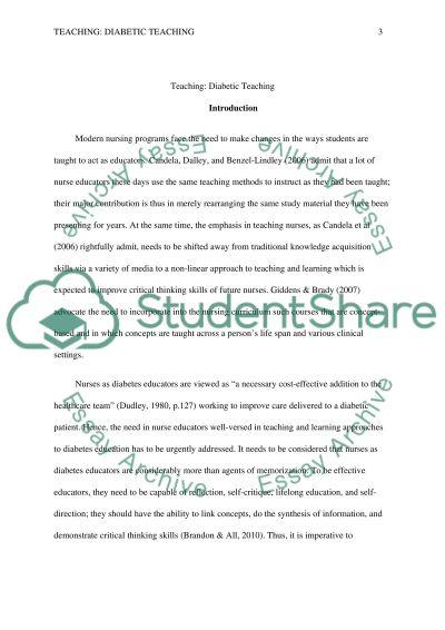 Teaching: Diabetic Teaching essay example