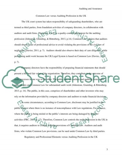AUDITING AND ASSURANCE essay example