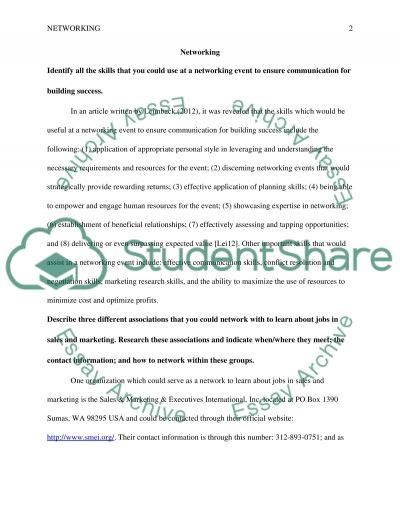 Networking Assignment essay example