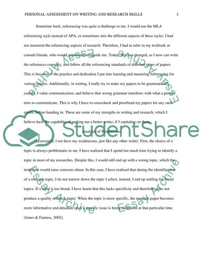 Personal Assessment on Writing and Research Skills