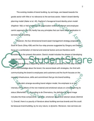 Building A Services Brand Essay Example  Topics And Well Written  Building A Services Brand