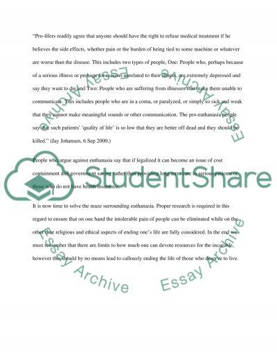 Euthanasia Essay essay example