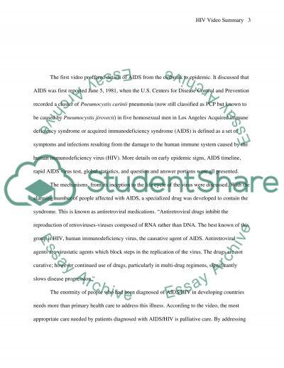 HIV video summary essay example