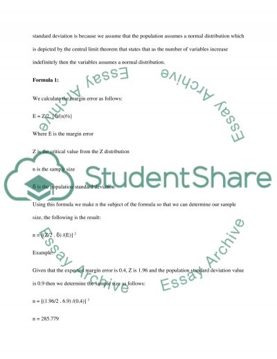 Sample size calculation essay example