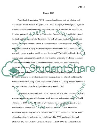 World Trade Organization Essay essay example