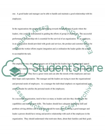 Leadership and employee relations essay example