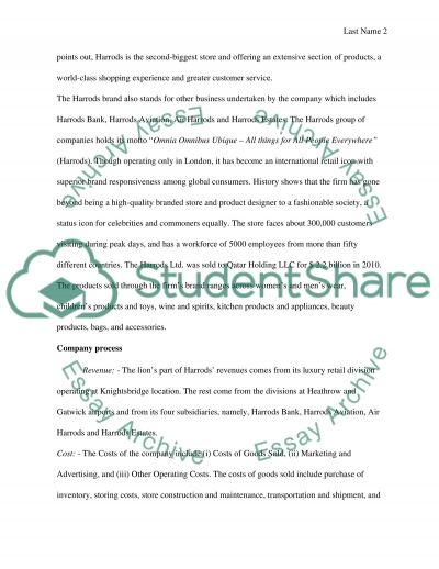 Harrods Research Paper Research Paper example