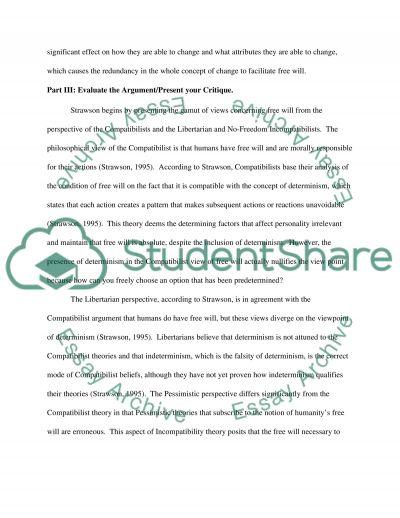 Strawson-Free Will Essay