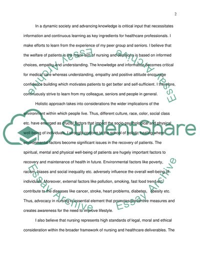 personal philosophy statement nursing