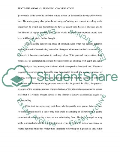text conversation messaging personal essay example read preview