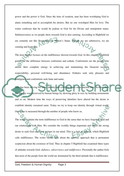god dom human dignity essay example topics and well text