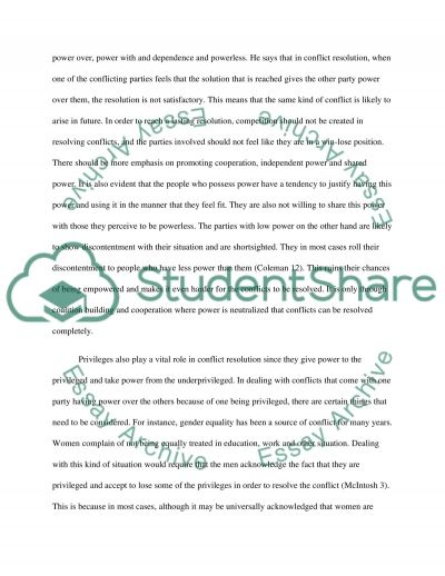 Power and Privilege in Conflict Resolution essay example