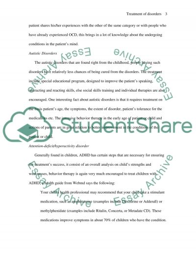 Treatment of disorders essay example