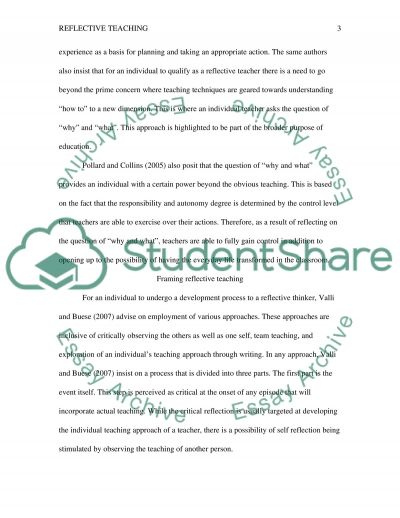 Reflective Teaching essay example
