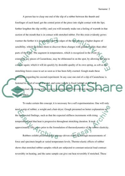 Elasticity of rubber essay example