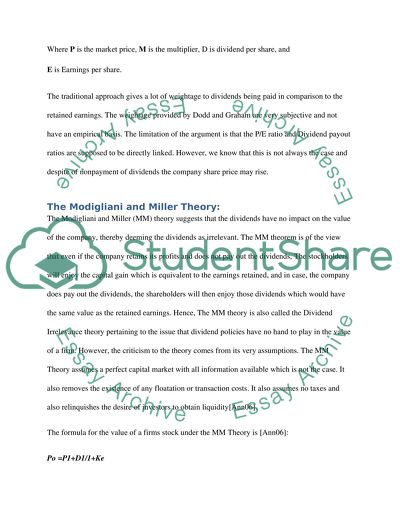 Dividend Policy Corporate Finance Essay Example  Topics And Well  Dividend Policy Corporate Finance Essay How To Make A Thesis Statement For An Essay also Professional Help With Writing A Business Plan  Starting A Business Plan Writing Service